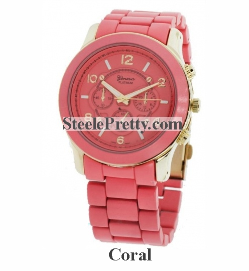 Coral Metal Link Watch