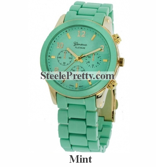 Mint Metal Link Watch