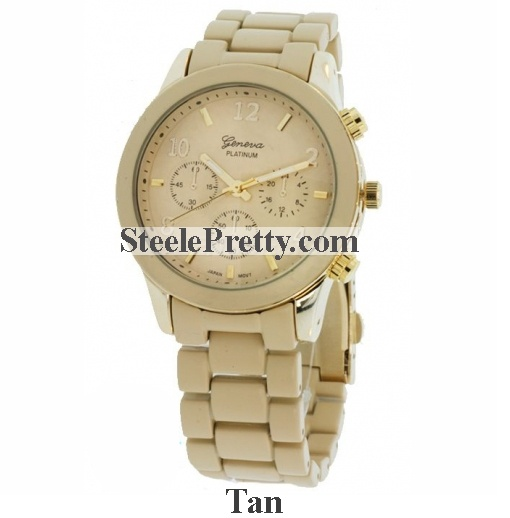 Tan Metal Link Watch