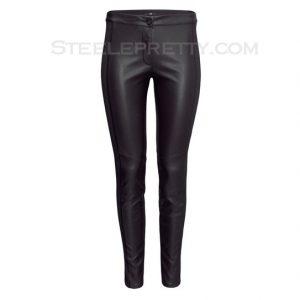 Black Slim Elastic PU Leather Leggings
