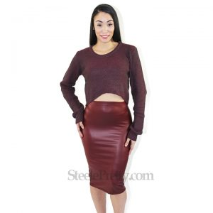 Burgundy PLeather Pencil Skirt