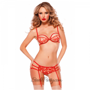 Rose Tattoo Print Bra Set