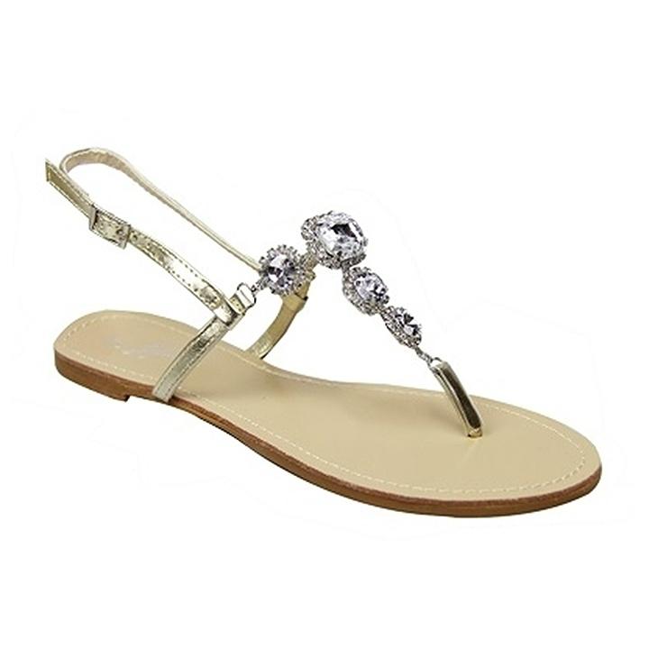 Gold Shine Flat Sandals