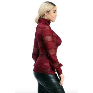 Burgundy See Through Top