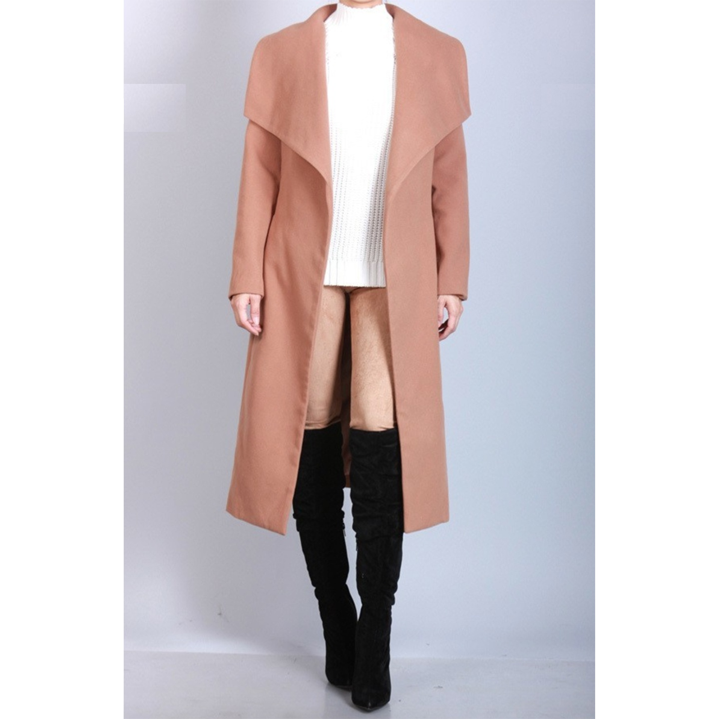 Drape Front Trench Coat Taupe