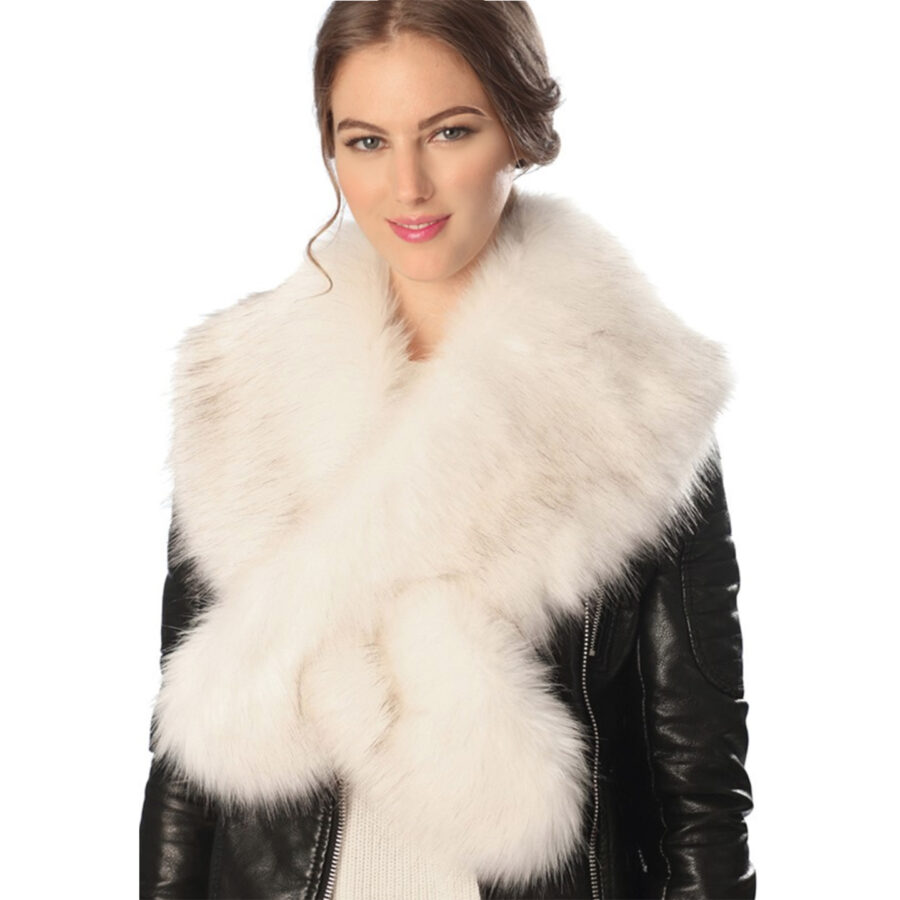 Faux Fur Scarf with Slit Ivory