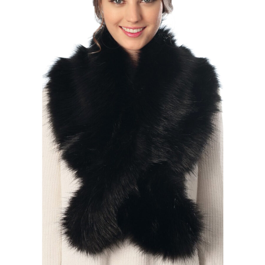 Faux Fur Scarf with Slit Black