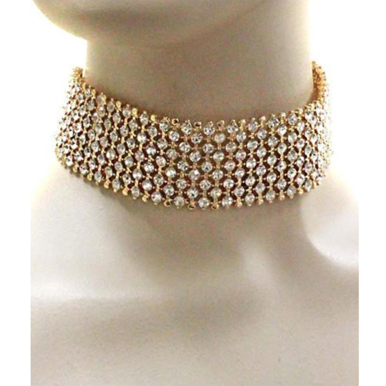 Gold Rhinestone Crystal Choker