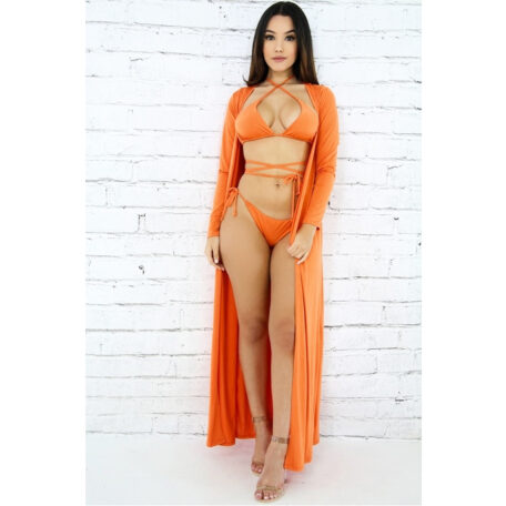 Robe Swimsuit Set - Orange