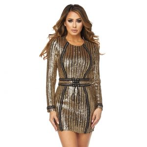 Perfect Striped Sequins Dress