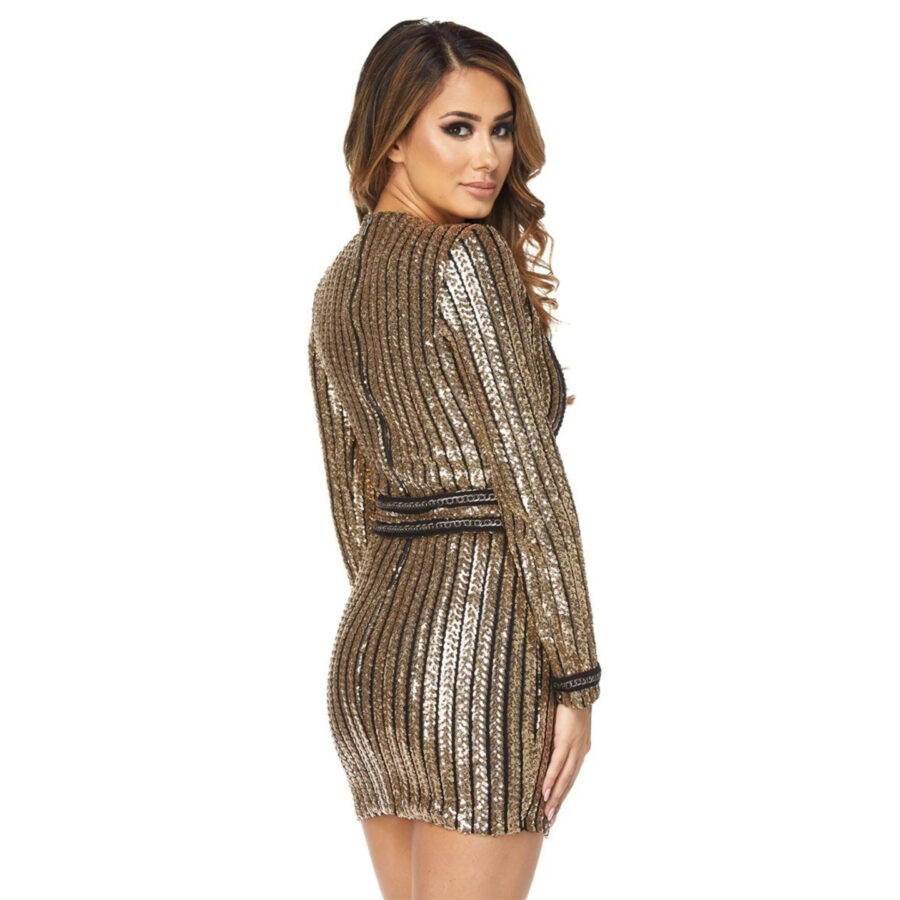 Perfect Striped Sequins Dress back