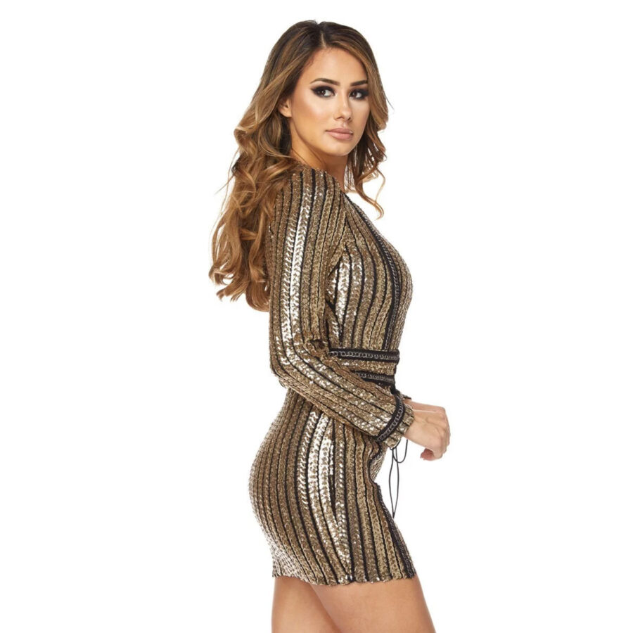 Perfect Striped Sequins Dress side1