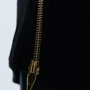 Snake Skin Strip T-Shirt Zipper Close Up