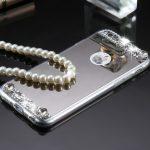 Rhinestone Glitter Mirror Phone Case - Silver