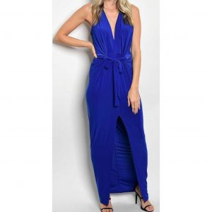 Bold Belted Slit Maxi Dress