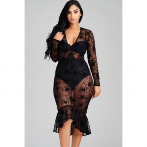 Bella Black Mesh Mermaid Dress
