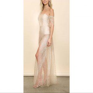 Gina Glitter Draped Maxi Dress