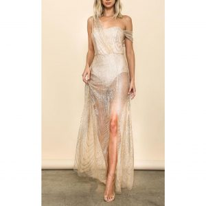 Gina Glitter Draped Maxi Dress