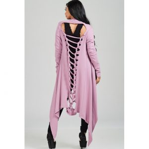 Laser Cut Long Cardigan Mauve
