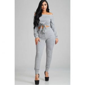 Terry tie Jogger Two Piece Set - Grey