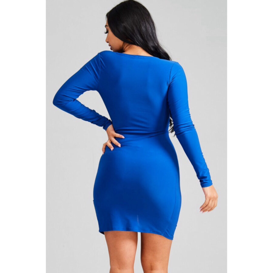 Pam Plunged V Neck Dress - Blue