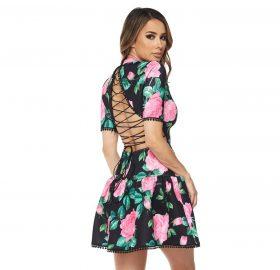 Floral And Leaf Print Dress