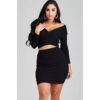 Rebecca Rib Knit 2 Piece Skirt Set black