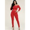 Stacey French Lace Up 2 Piece Set - Red