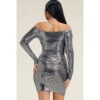 Metallic Off the Shoulder Dress - Silver