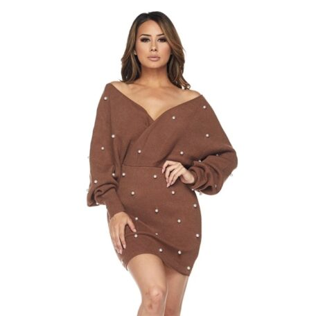 Pearl Off the Shoulder Dress- brown