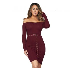 Charlotte Off the Shoulder Belted Dress Burgundy